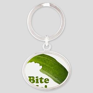 Bite Me! Pickle Oval Keychain