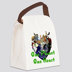 One Planet One Heart Canvas Lunch Bag