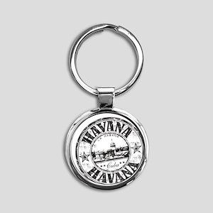 Cuba Round Keychain