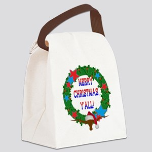 Merry Christmas, Y'all!  Holly Wr Canvas Lunch Bag