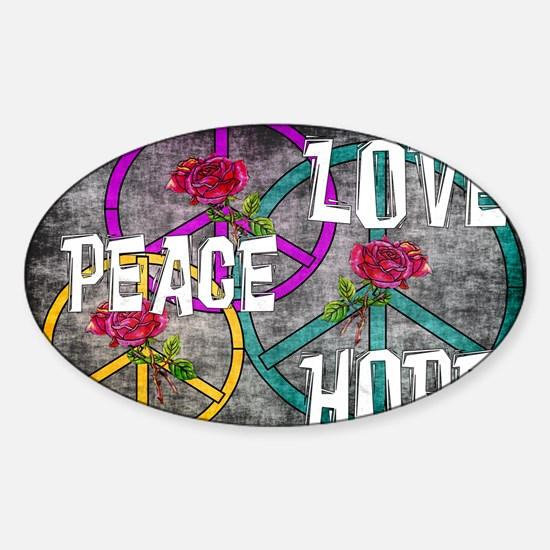 Love Peace Hope Sticker (Oval)