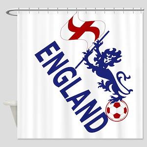 England Football Flag and Lion Shower Curtain