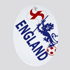 England Football Flag and Lion Ornament (Oval)