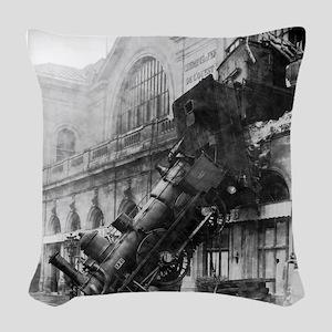 Train Wreck Woven Throw Pillow