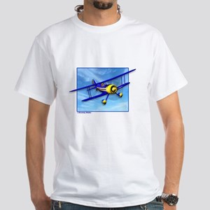 Cute Blue & Yellow Biplane White T-Shirt