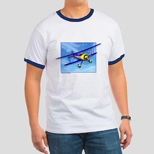 Cute Blue & Yellow Biplane Ringer T