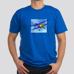 Cute Blue & Yellow Biplane Men's Fitted T-Shirt (d