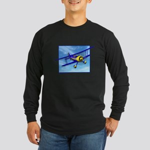 Cute Blue & Yellow Biplane Long Sleeve Dark T-Shir