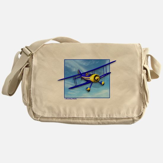 Cute Blue & Yellow Biplane Messenger Bag