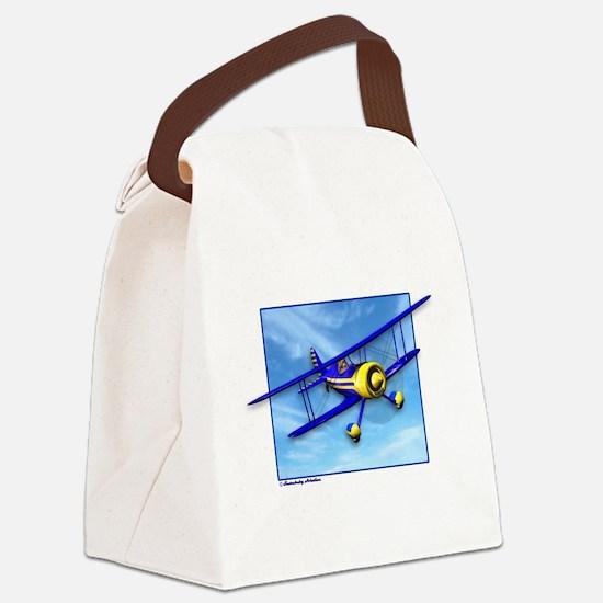 Cute Blue & Yellow Biplane Canvas Lunch Bag