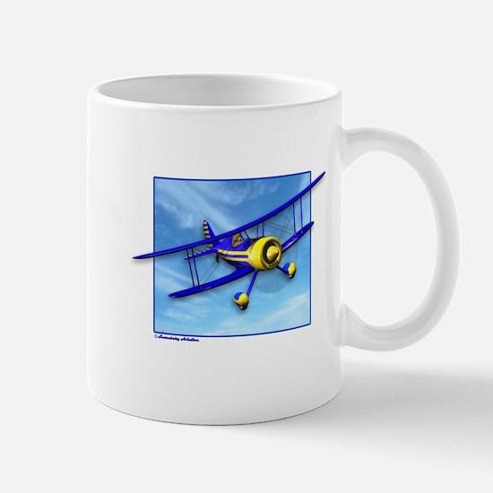 Cute Blue & Yellow Biplane Mug