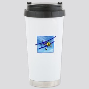 Cute Blue & Yellow Biplane Stainless Steel Travel