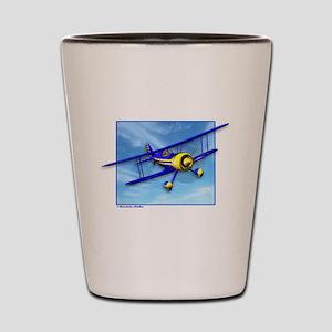 Cute Blue & Yellow Biplane Shot Glass