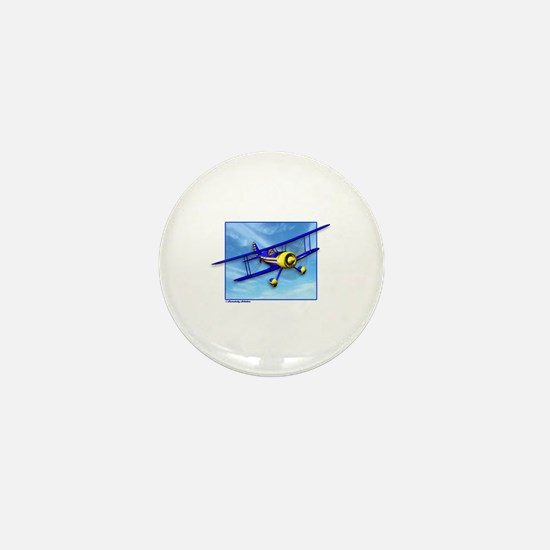 Cute Blue & Yellow Biplane Mini Button