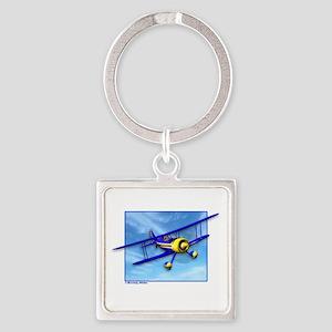 Cute Blue & Yellow Biplane Square Keychain