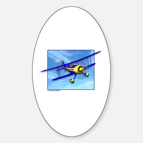 Cute Blue & Yellow Biplane Sticker (Oval)