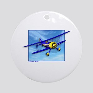 Cute Blue & Yellow Biplane Ornament (Round)
