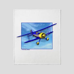 Cute Blue & Yellow Biplane Throw Blanket