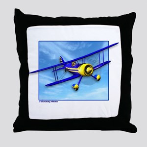 Cute Blue & Yellow Biplane Throw Pillow