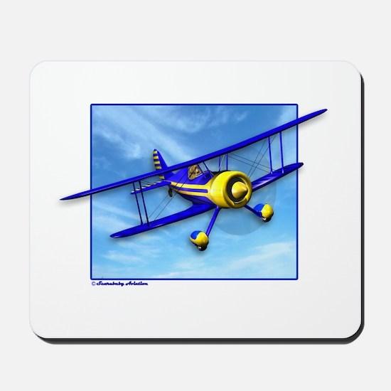 Cute Blue & Yellow Biplane Mousepad