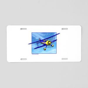 Cute Blue & Yellow Biplane Aluminum License Plate