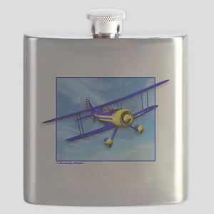 Cute Blue & Yellow Biplane Flask