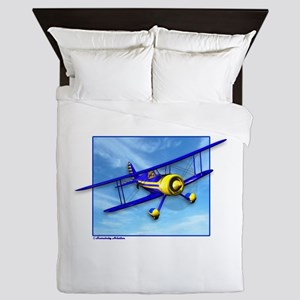 Cute Blue & Yellow Biplane Queen Duvet