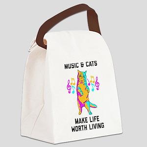Music & Cats Make Life Worth Livi Canvas Lunch Bag