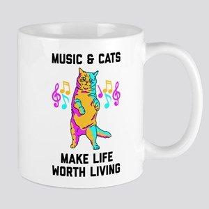 Music & Cats Make Life Worth Liv 11 oz Ceramic Mug