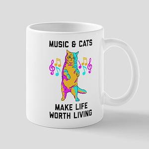 Music & Cats Make Life Worth Liv 11 oz Ceramic Mug