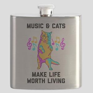 Music & Cats Make Life Worth Living Flask