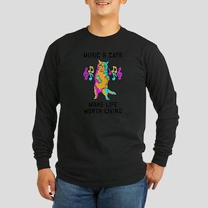 Music & Cats Make Life Wo Long Sleeve Dark T-Shirt