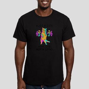 Music & Cats Make Life Men's Fitted T-Shirt (dark)
