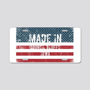 Made in Council Bluffs, Iow Aluminum License Plate