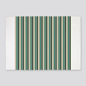 Green Striped Pattern 5'x7'Area Rug