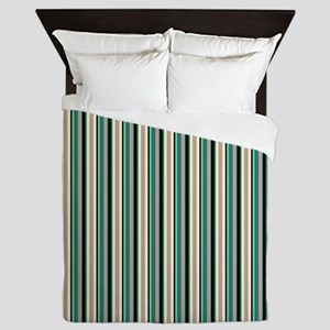 Green Striped Pattern Queen Duvet