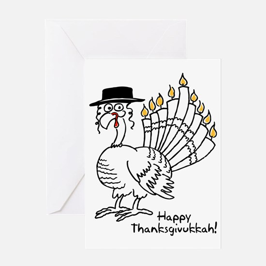 Turkey Menorah Color Greeting Cards