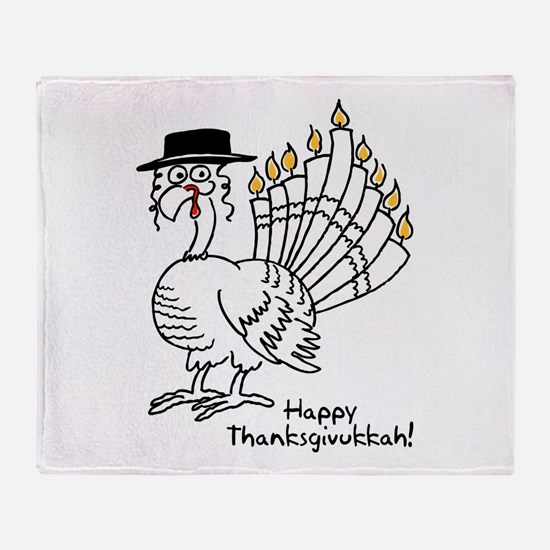 Turkey Menorah Color Throw Blanket
