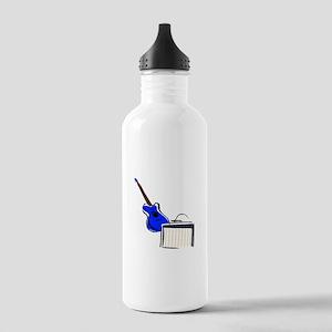 stylized guitar amp blue Water Bottle