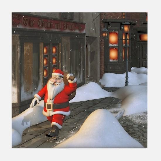 Santa is coming 4 Tile Coaster