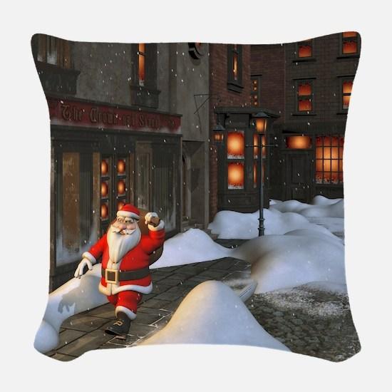 Santa is coming 4 Woven Throw Pillow