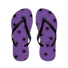 Purple Spider Pattern Flip Flops