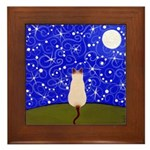Siamese CAT On A Starry Night Framed ART Tile