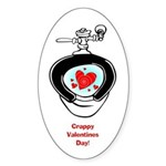 Crappy Valentine's Day Oval Sticker