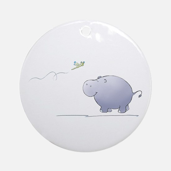 hippo and dragonfly Ornament (Round)
