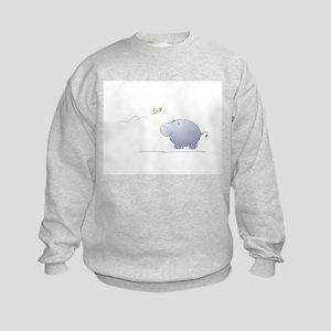 hippo and dragonfly Kids Sweatshirt