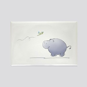 hippo and dragonfly Rectangle Magnet