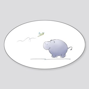 hippo and dragonfly Oval Sticker
