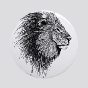 Lion (Black and White) Ornament (Round)