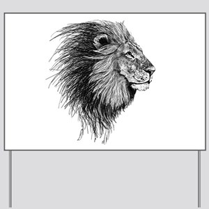Lion (Black and White) Yard Sign